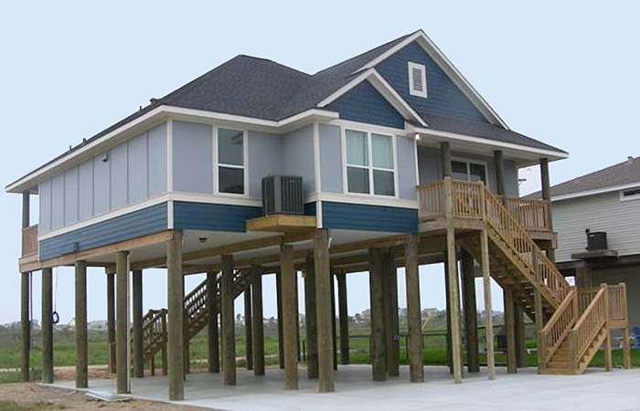 Superb coastal home plans on pilings 4 gun barrel for Concrete pilings for house